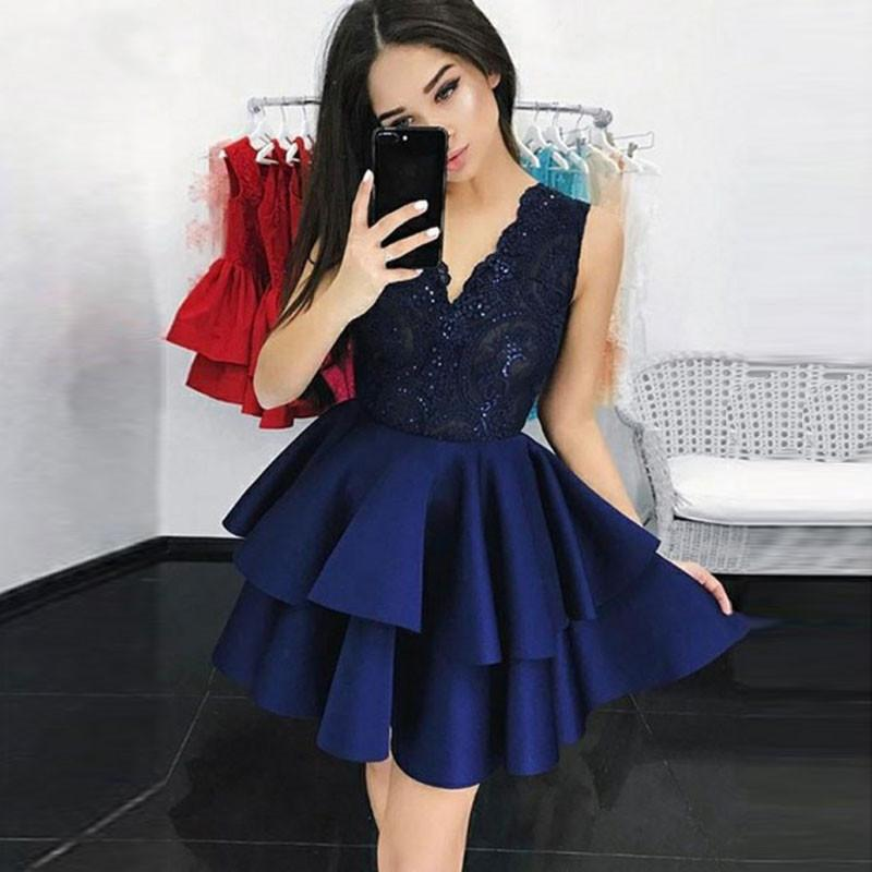 Lüks Donanma Mavi Mezuniyet Elbiseleri Aplike Sequins Kısa Kokteyl Elbise Ruffles Balo Parti Kıyafeti Vestidos De Fiesta 2020