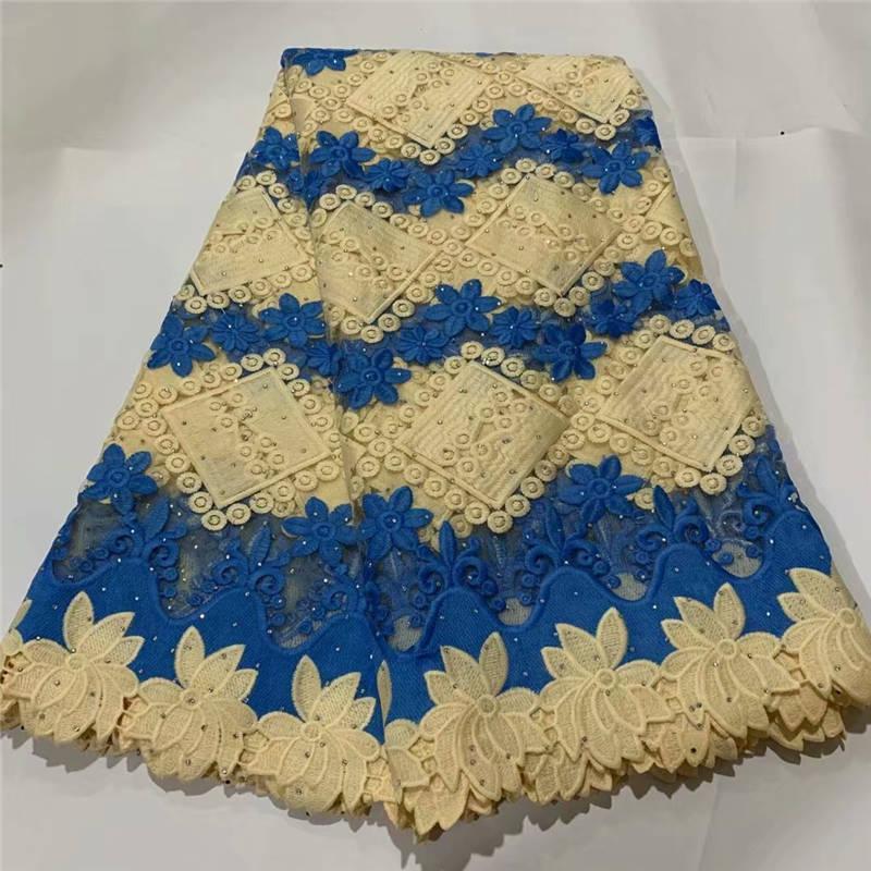 Синий 2020 Последние бусины французский африканский шнурок ткани с камня высокого качества африканского Тюль Кружево Ткань для свадьбы