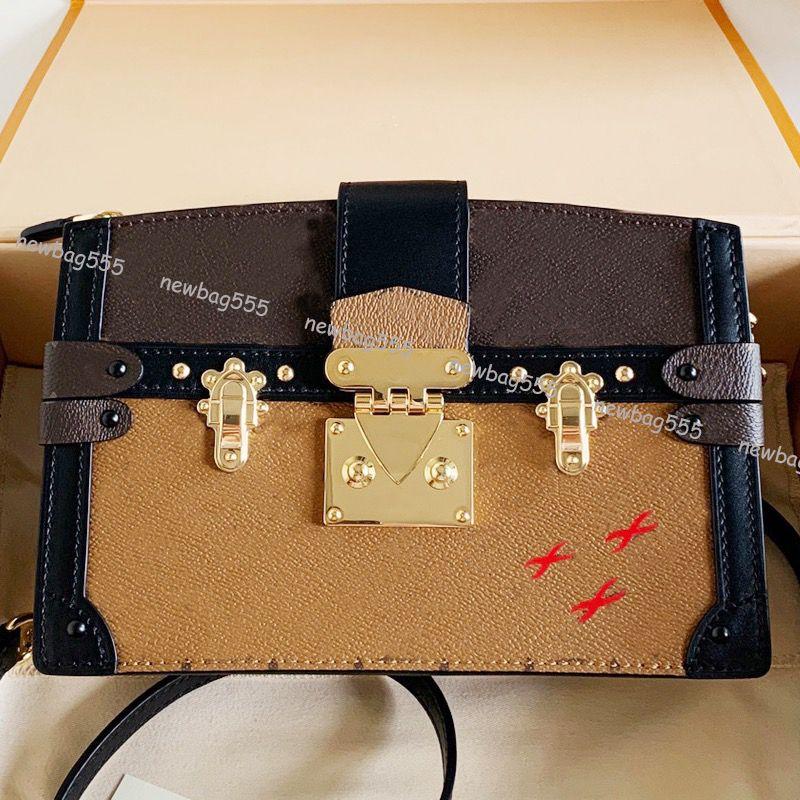 Neue Art und Weise Frauen echtes Leder Reverse Tasche Stamm Kupplung Mini Umhängetasche Damen mallzipper 43596 abnehmbaren Riemen Niete Umhängetasche Kasten