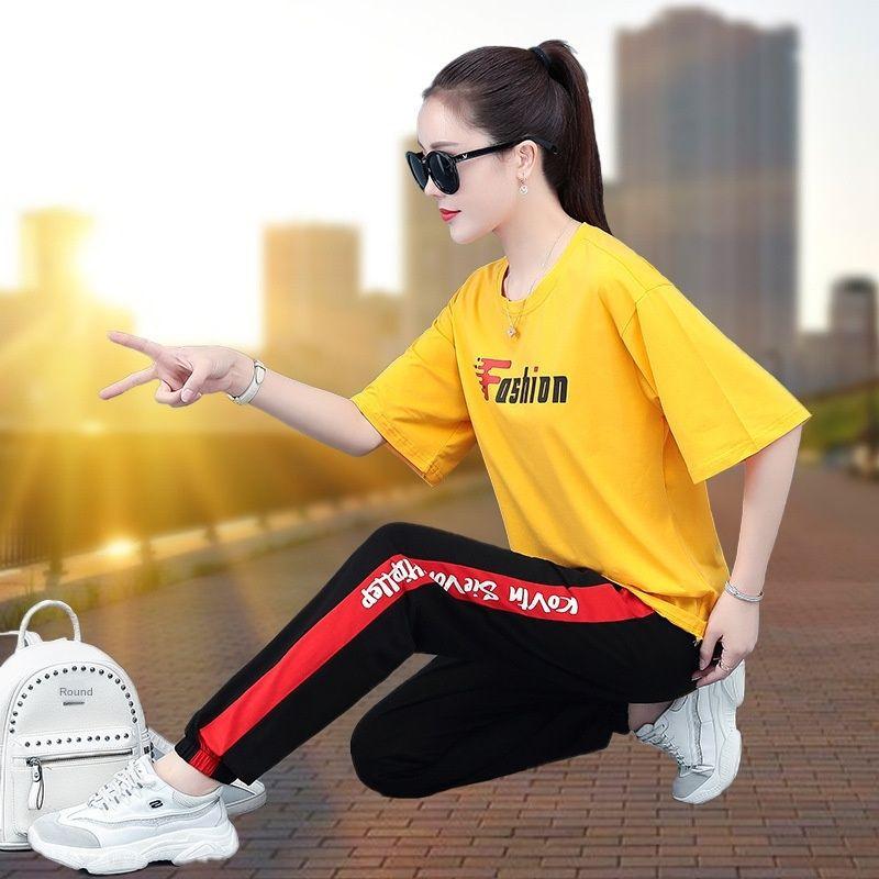 tkErd tkvPn Sports style women's 2020 summer pants Korean suit loose slimming hidden meat casual pants fat MM Western style casual new two-pi