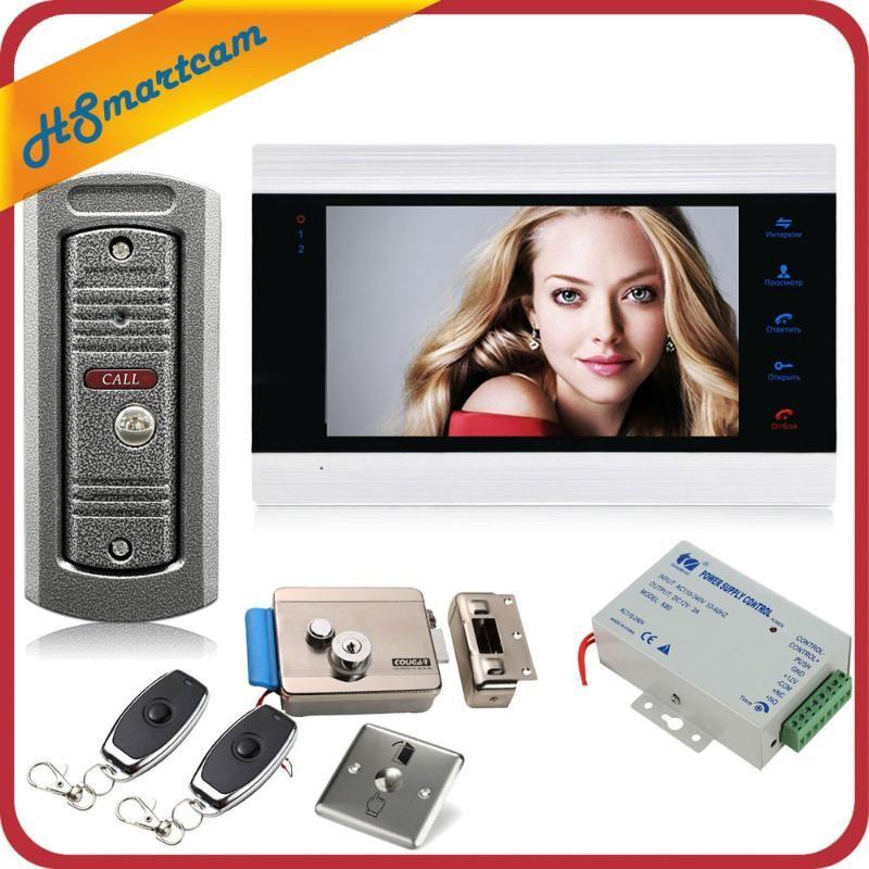 7 pouces Vidéo Sonnette Moniteur Intercom avec 1200TVL extérieur Sonnette Caméra Portier Interphone Système de contrôle à distance de verrouillage de porte