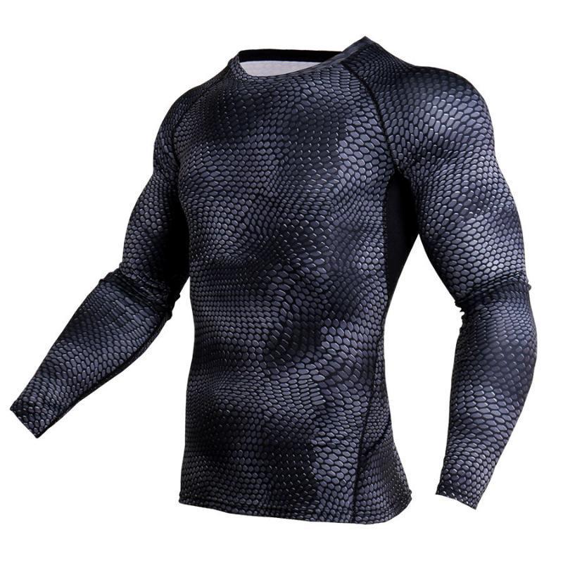 Impresso New 3D T-shirts Homens Compression shirt longo da luva T térmica shirt dos homens de Fitness Musculação Skin Tight Tops Quick Dry