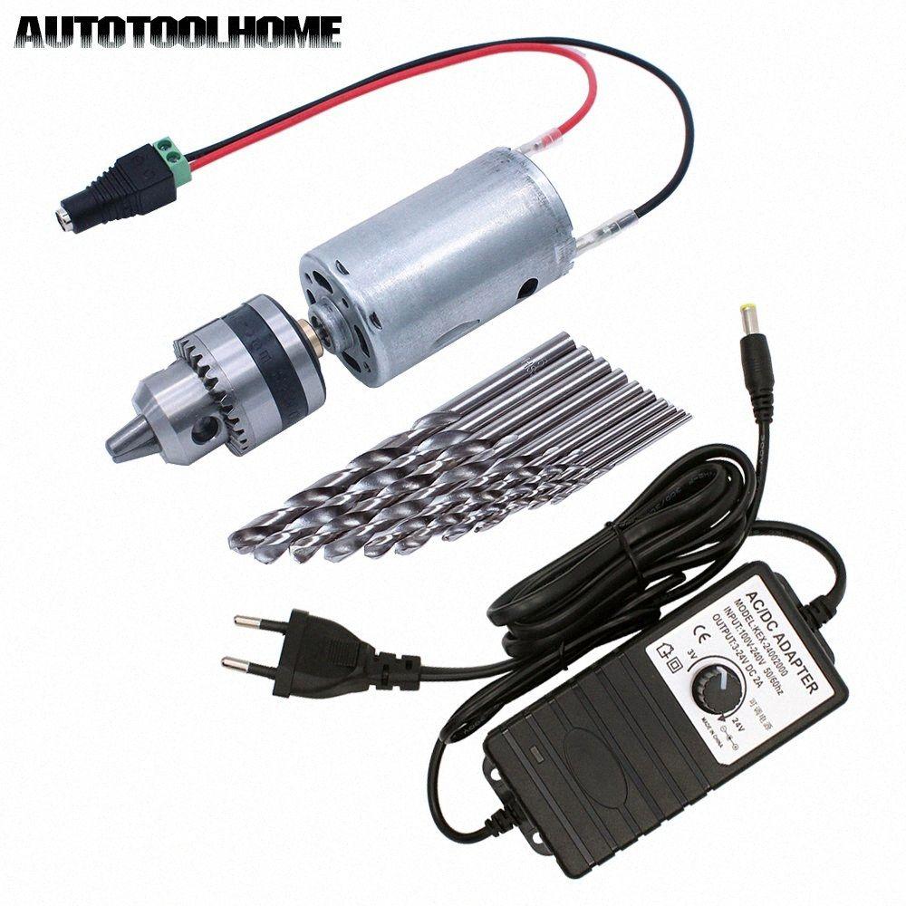 Mini Elektrikli El Matkap DC motor 3-24V 2A Ayarlanabilir Güç Kaynağı 0.6-6mm twist Bit Seti AB / ABD Plug I6oY # ile B10 Matkap Chuck