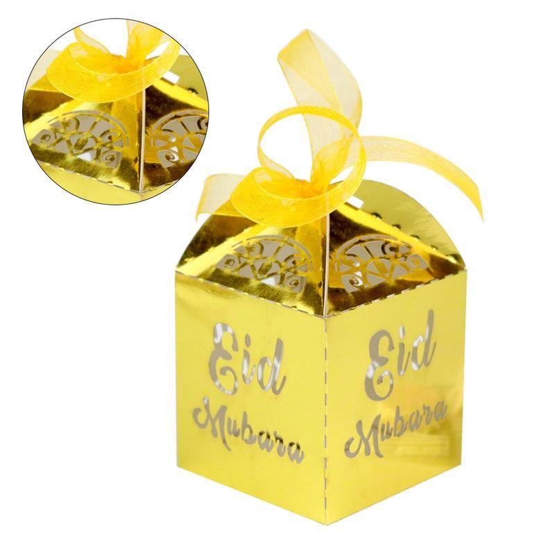 50pcs / set chocolate Festival de Ramadán musulmán caramelo de contenedores a cielo abierto del caramelo de la caja de plata de oro Negro Caja de almacenamiento islámica