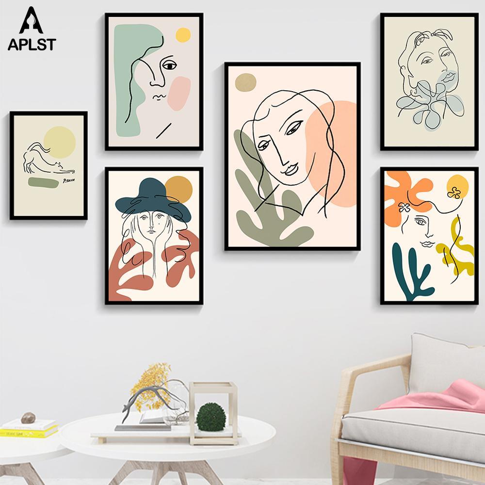 Nordic Moda Mujeres abstractas de la cara del dibujo lineal Matisse cartel imprime coloridas lona de las muchachas pintura del arte Imágenes Dormitorio