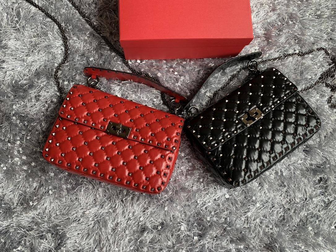 Bolsa Clássica Genuine Leather High Papaya Bolsa Menina Diamante Mulheres Negra Lattice Rivet Cadeia de Vaca Moda Médio Projetado Imprimir GeFe