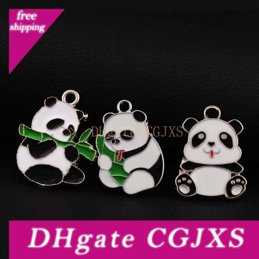 Kleine Panda Tier-Charme-Korn-Anhänger-42pcs / Lot 3styles Stilvolle hübsche Drei Modelle Emaille reizender 24mm * 30mm L1725