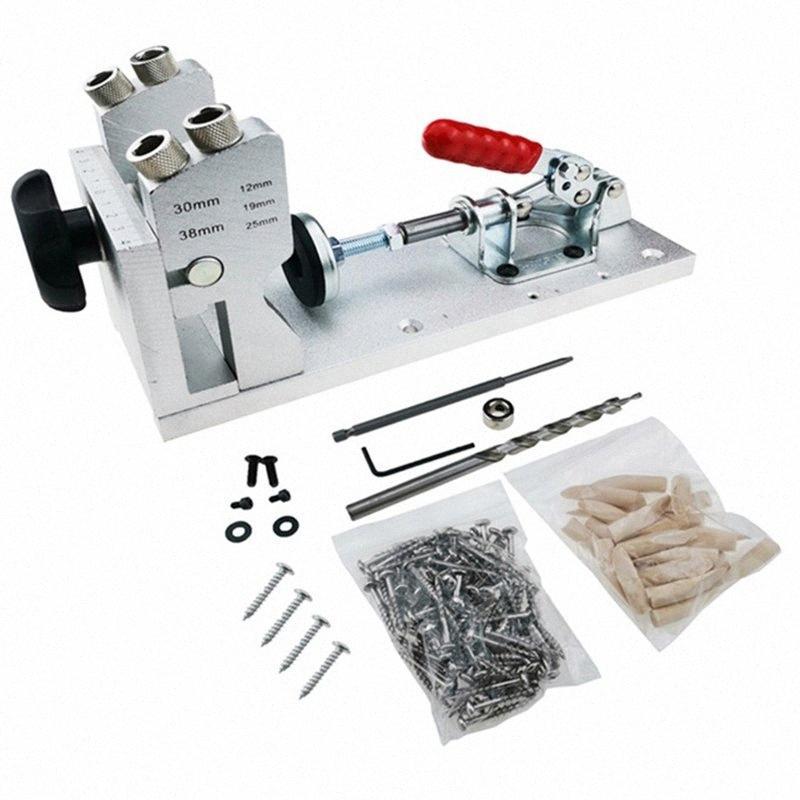 Jig Kit système Pocket trou goujonner Jig Jeu de forets Drill Guide jointoiement Forage Trou pour Outils de menuiserie Travail du bois GyiS #