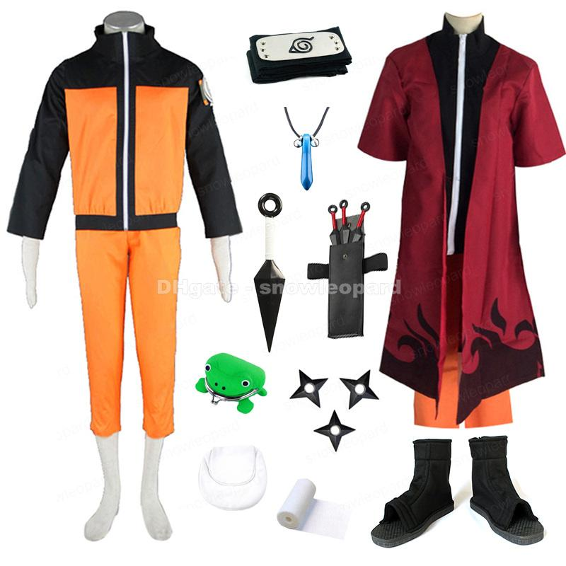 Uzumaki Naruto Cosplay Costume Whole Set Fairy mode Cloak Coat Capri-pants Weapon Prop Mens Halloween Clothing