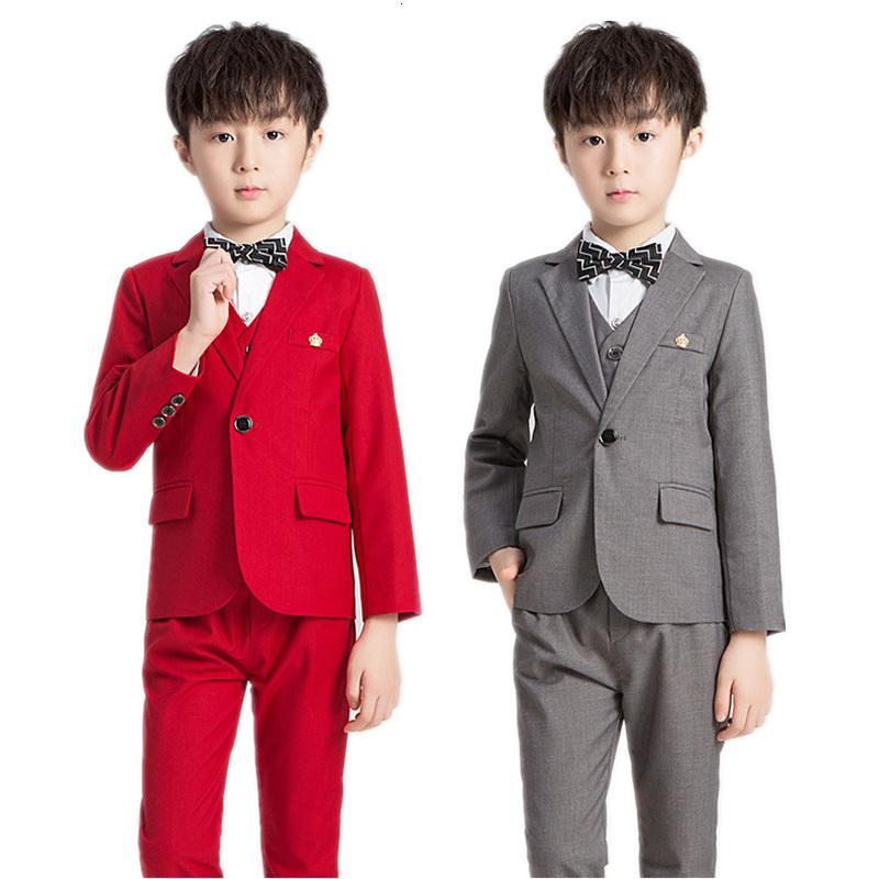 New Flowers Boys Formal Suit Kids Wedding Party Dress Kids Blazer Vest Pants 3Pcs Tuxedo Suit School Children Ceremony Costume