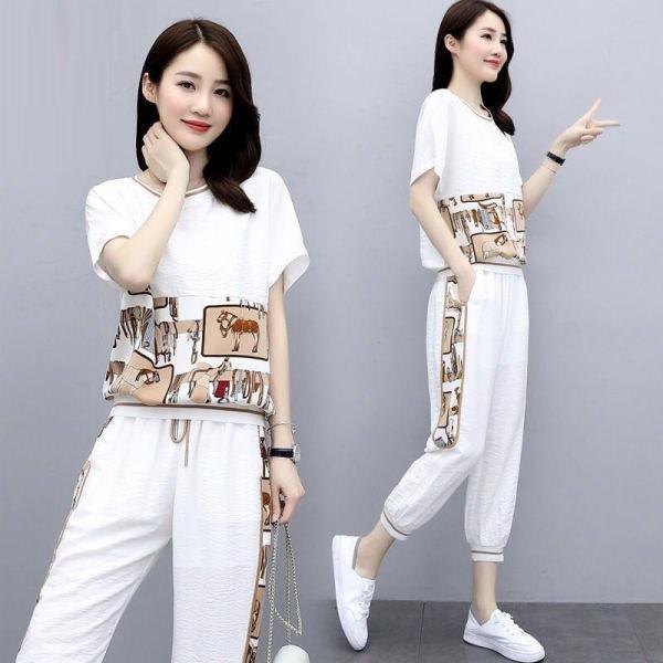PBv3q costume d'été de mode casual 2020 nouveaux petits mode grand été des femmes deux pièces imprimé deux pièces ensemble