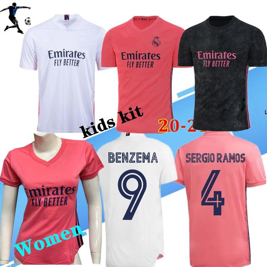 20 21 REAL MADRID men soccer jerseys HAZARD SERGIO RAMOS BENZEMA VINICIUS camiseta football shirt uniforms women kids kit sets 2020 2021
