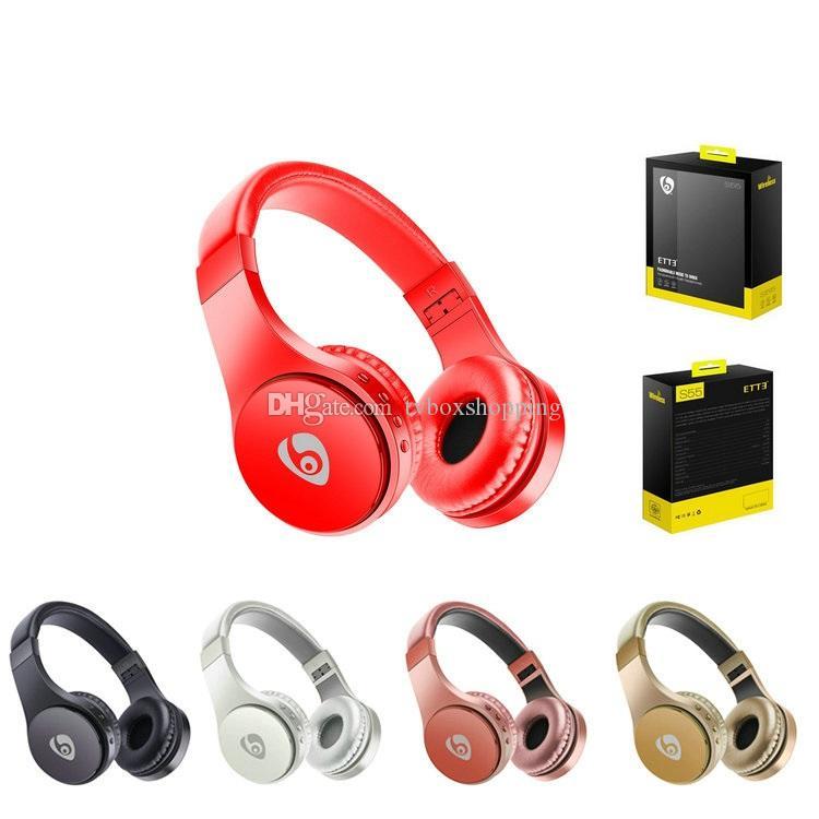 1 parça!! Kablosuz Bluetooth Kulaklık S55 Oyun Kulaklığı Stereo Müzik Destek TF Kart ile Mic Katlanabilir Kafa Kutu PK i12 TWS
