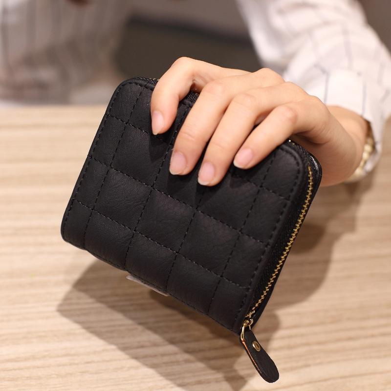 mini mujeres coreanas cortos cremallera cartera femenina bordada cartera con cremallera moneda lindo bolso corto del estudiante KifR8