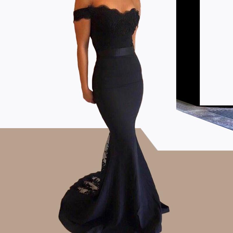 Hot Sale Preto Longo Prom Dresses Sereia Fora do ombro Com Sash 2016 Elegant Formal Evening Vestidos