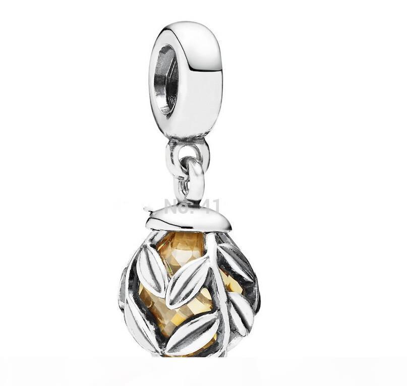 925 Sterling Silver Золотой лавровый лист мотаться Подвеска из бисера Подходит Pandora Style Ювелирные изделия Шарм Браслеты Ожерелья