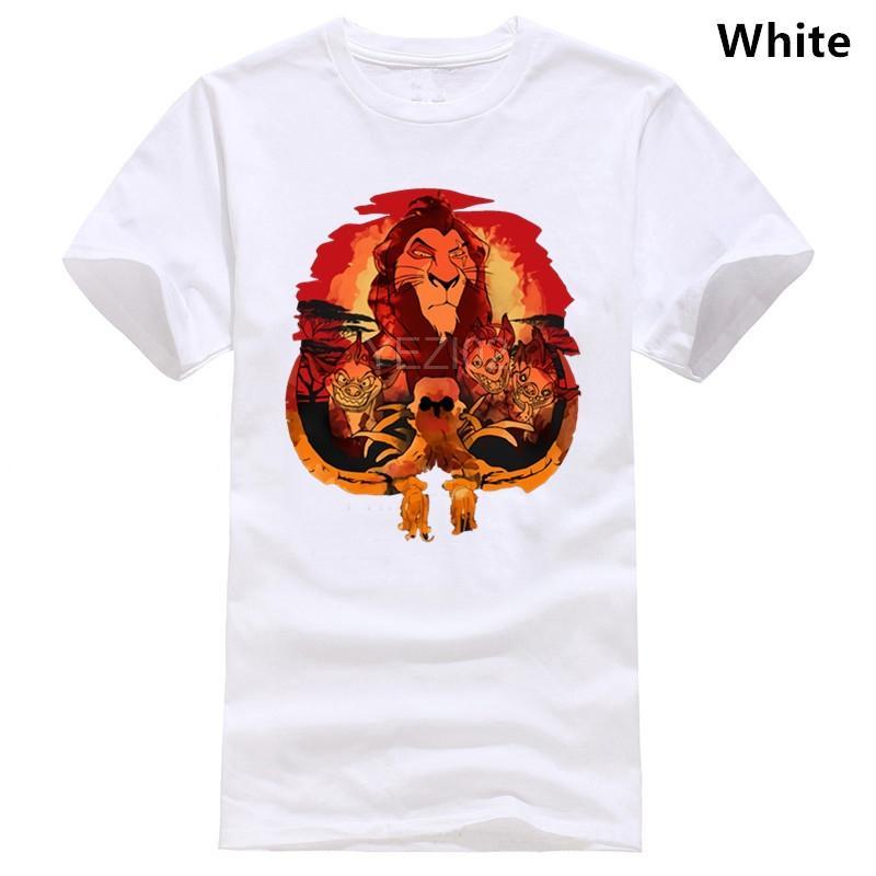 Imprimir T-Shirt For Men T Sólidos shirt para Homens O Pescoço da aptidão camiseta Man 2018 Homme Lion Scar And Company Watercolor