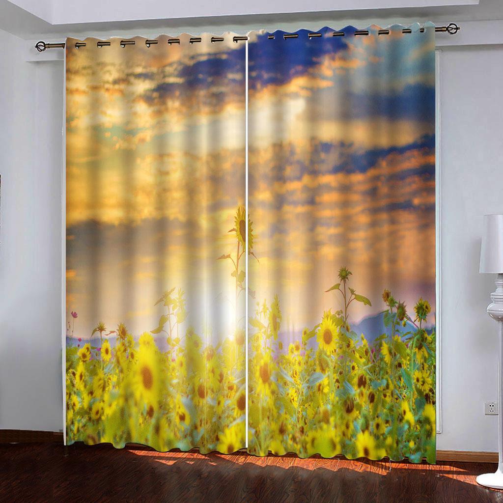 Tamaño de foto 3D cortina de encargo de oro hermosa de girasol Océano cortinas para cortinas del dormitorio sala de estar decoración de la cocina
