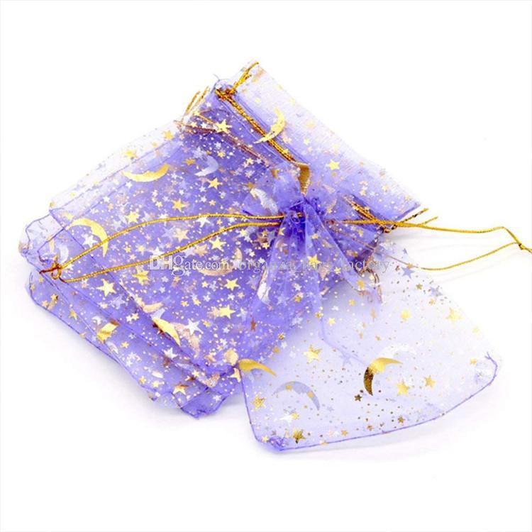 100 Pçs / lote Lilac Loon Star Organza Favor Sacos de cordão 4sizes bolsas de embalagem de jóias de casamento, bom presente de sacos fábrica