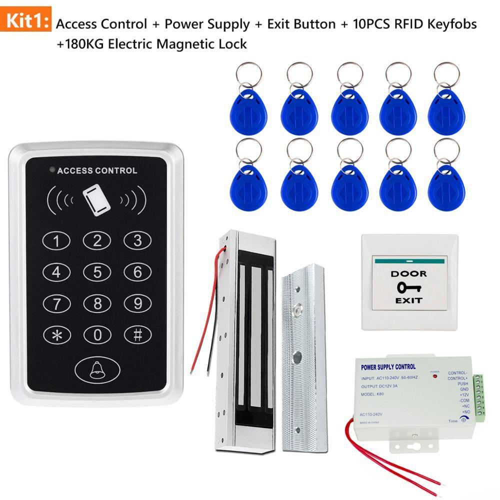 Système de contrôle d'accès porte Kit RFID de contrôle d'accès clavier + alimentation + électrique serrure magnétique Boulon de grève Serrures + clé de