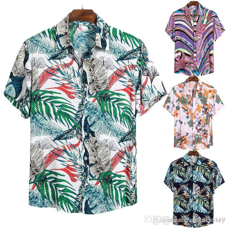 Mens Beach Hawaiian Shirt Summer Short Sleeve Shirt Mens Brand Clothing Casual Tops Blouse Shirts Loose Button Down Shirts