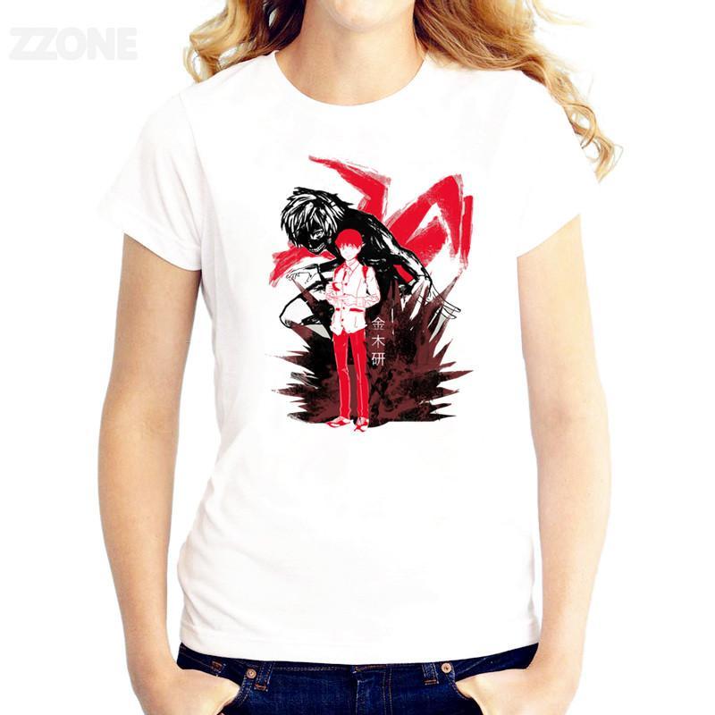 Anime Kaneki Ken tişört Kadın Baskılı İyi Kalite Tshirt Kısa Kollu T-shirt O-Boyun Moda Tee Gömlek
