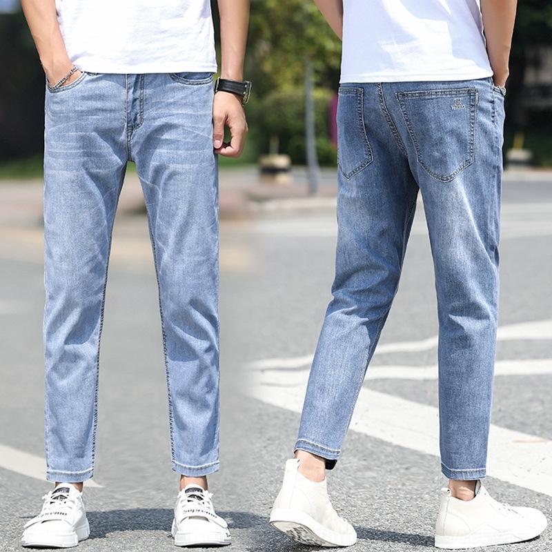 jLPCh pMtv5 tornozelo-comprimento e calças largas calças jeans juventude masculina de jeans masculina de verão estilo coreano fina e calças moda calças stretch emagrecimento