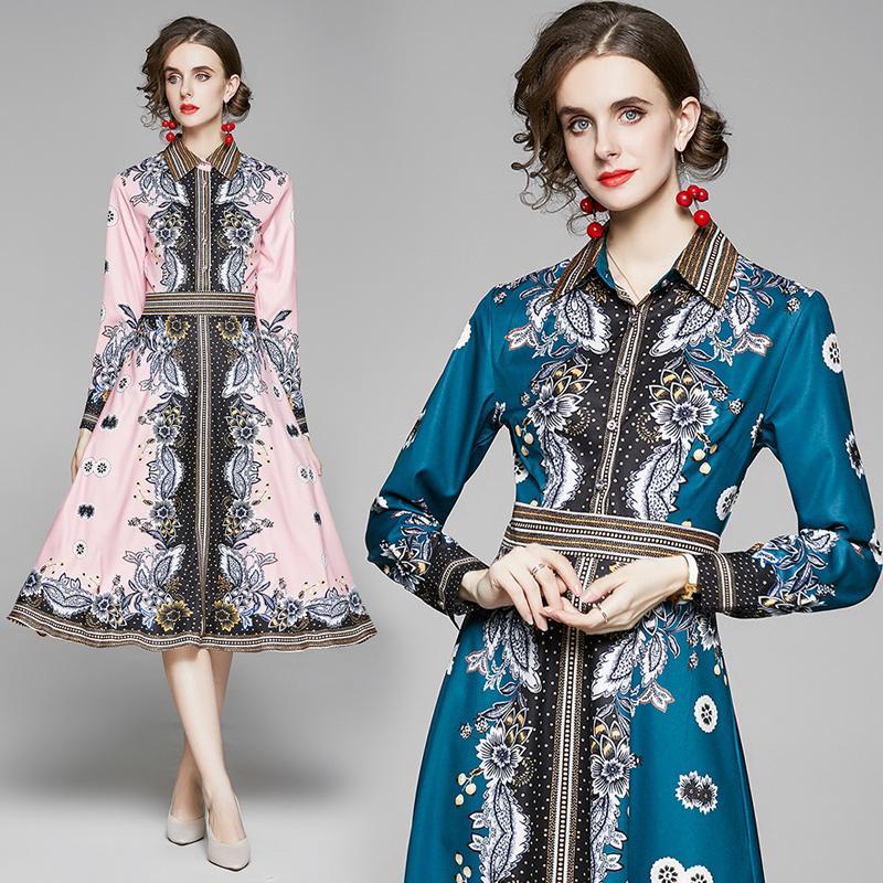 Женские платья с длинным рукавом печатных лацкане OL платье 2020 осень платье высокой моды Элегантная леди платья