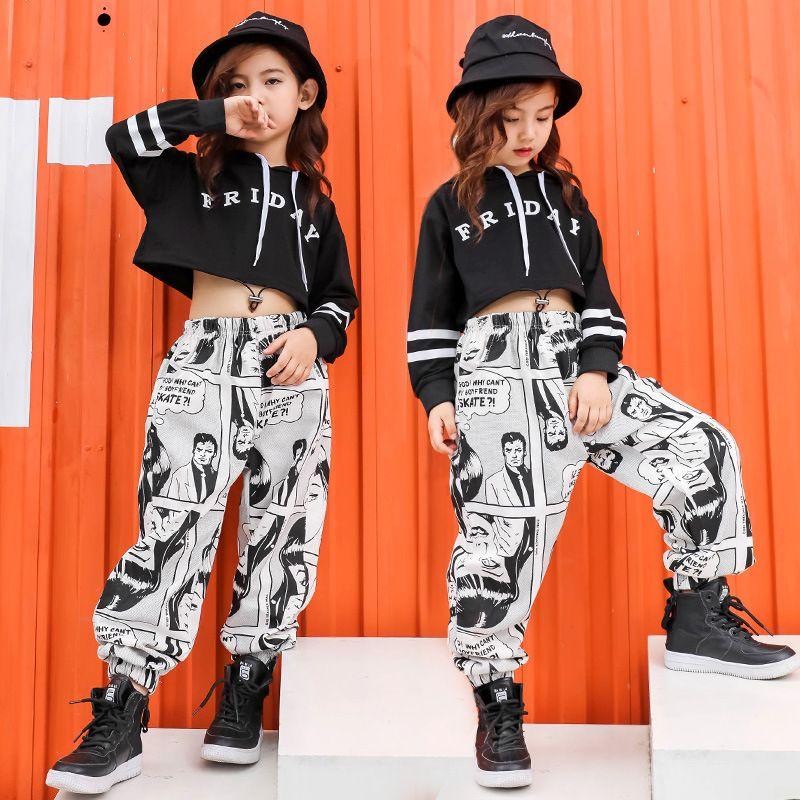Vestiti dei bambini danza sportiva costumi per le ragazze Moda bambini nero Crop Top Pantaloni 2 pezzi Outfits ragazza teenager Hip Hop Abbigliamento 4-18 Y X0923