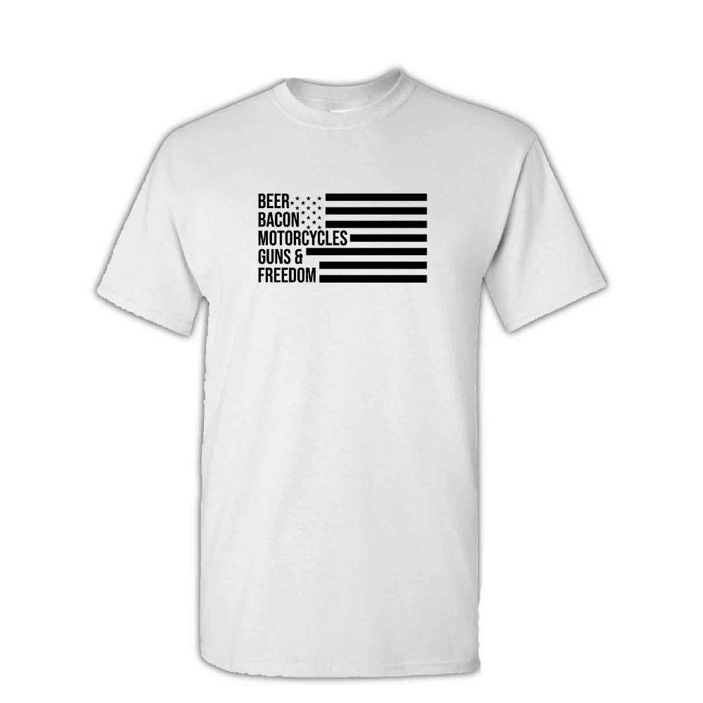 Vendita di alta qualità di personalità di modo di birra pancetta Moto Guns libertà Usa T-shirt Fun novità del regalo di Teedesign Men T-shirt