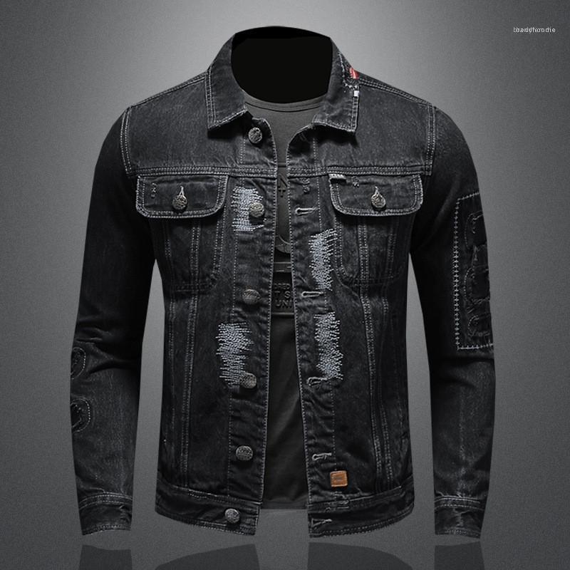 Jean Ceket Moda Ağır Sanayi Delik Patch Mens demineralize Ceket Casual Erkek Giyim Vintage Erkek Tasarımcı