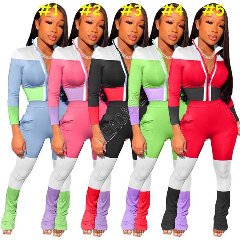 Kadınlar Eşofman Yansıtıcı Çizgili Patchwork Fermuar Ceket Kaban Kıyafetler Renkli Blok Legging Pantolon Suit Jogger Pantolon Spor seti D82007 Sweat