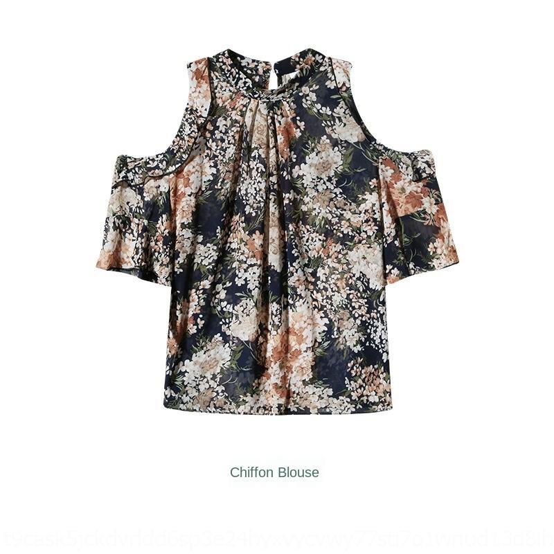 K1zUf Blumen Chiffon Frauen sexyshoulder Anzugs Temperament Kleidung der Frauen 2020 Sommer neu im westlichen Stil Alter mindernde zweiteiliger Anzug fashio