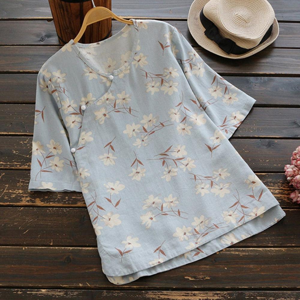 Frühling neu Stil der Frauen kurzärmelig gedruckte Gruppe Nationalität oben Frühjahr neues ethnische Art T-Shirt Frauen-kurzärmeliges gedruckt Ethnic Gr
