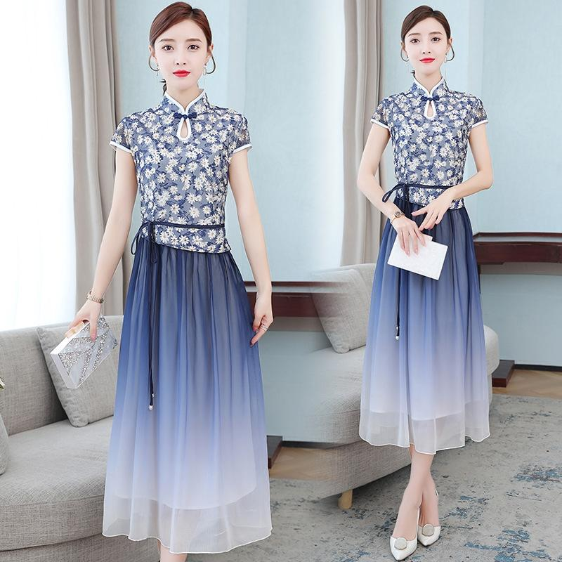 2020 estate nuova margherita gradiente migliorato il vestito giovane slim fit stile cinese gonna cheongsam gonna pnBls abbigliamento delle donne eleganti pn