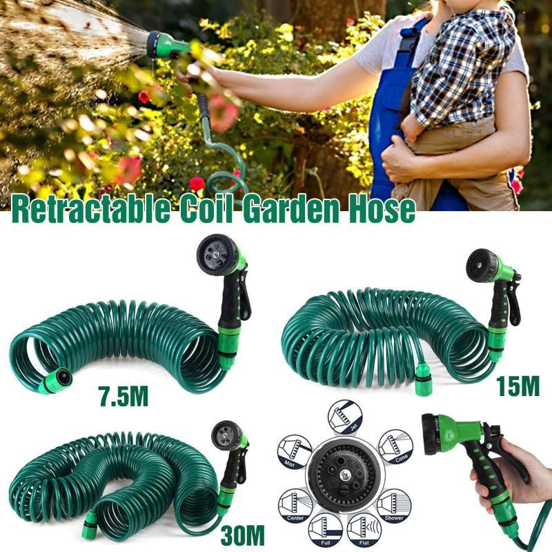 7.5M/15M/30M Retractable Coil Garden Hose Pipe Expandable Reel Spray Gun Tap Connector with Spray Nozzle Car Washing Tool
