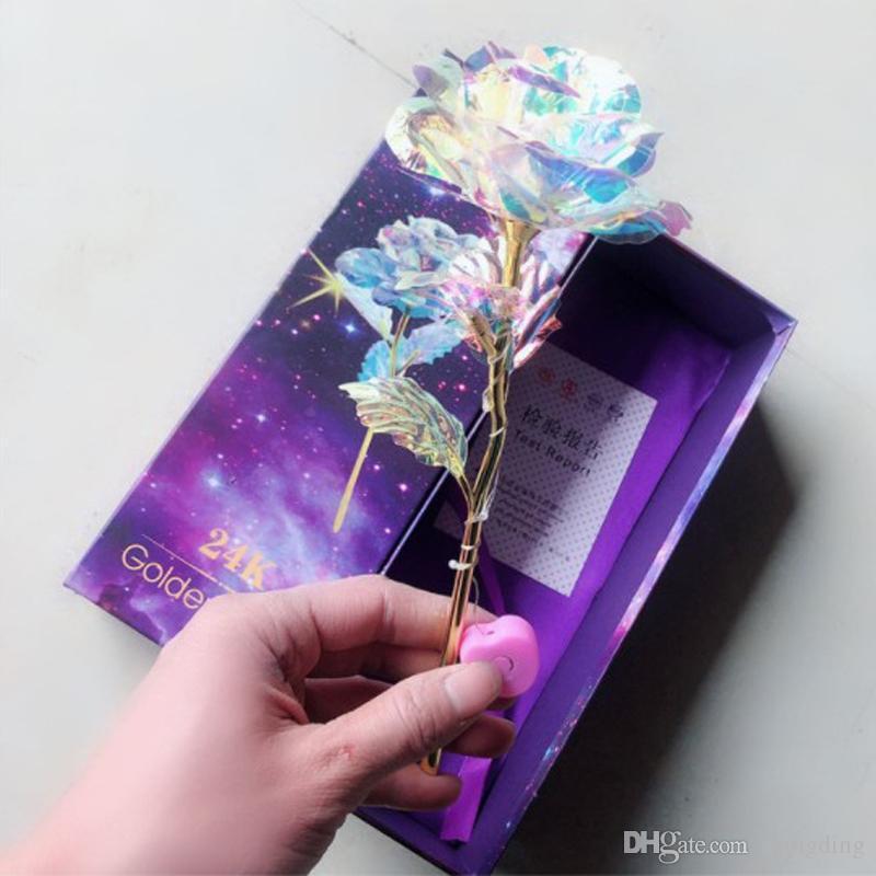 San Valentino Day inscatolato regalo DBC DH 24k Gold Foil placcato Rosa lampeggiante luminoso Rosa Fiore Golden Rose Wedding Decor compleanno della mamma