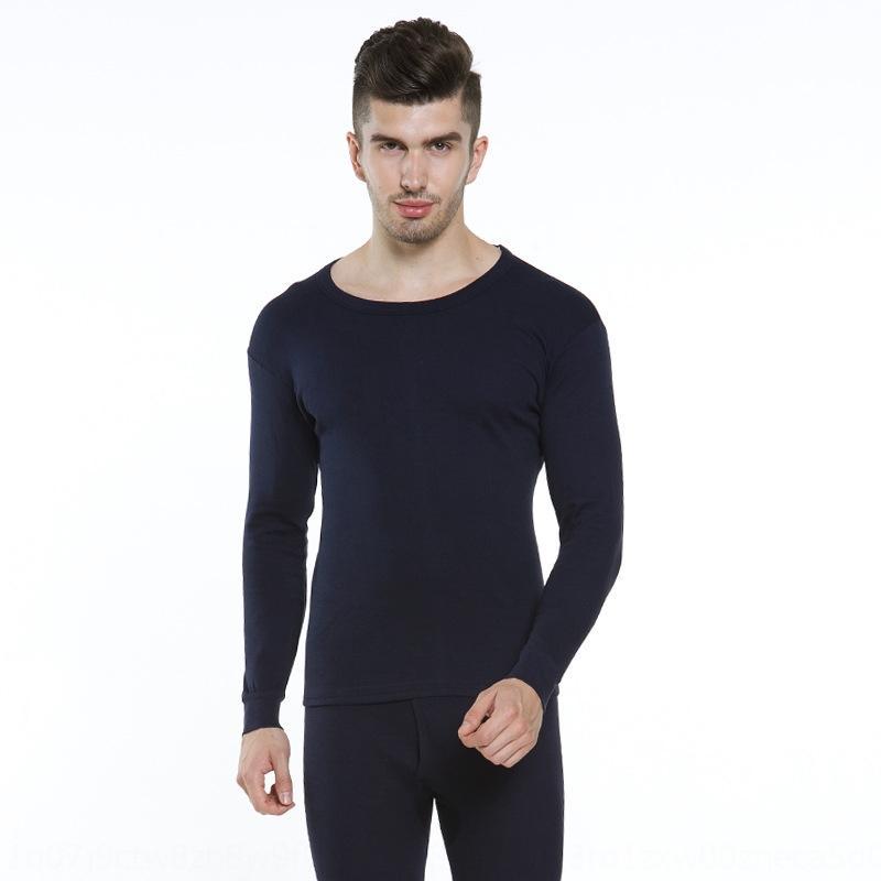 base de conjunto roupa térmica kQ1mL camisola base de algodão juventude Slim Fit Quente Roupa interior e no Outono roupas roupas de outono dos homens do algodão de Men BaUb8