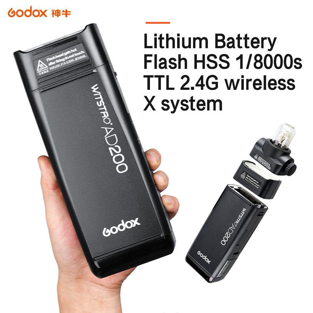 Мигает GoDox AD200L 2.4G HSS 1/8000S Pocket Flash Squipte Light Double Head 200W с литиевой батареей X1T