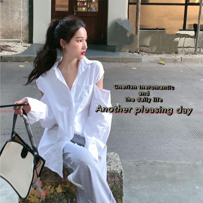 Vjhsf Petite machine haut à manches longues sens du design 2020 style coréen été looseshoulder BF Manteau chemise Tout match chemise femmes vêtements d'extérieur de