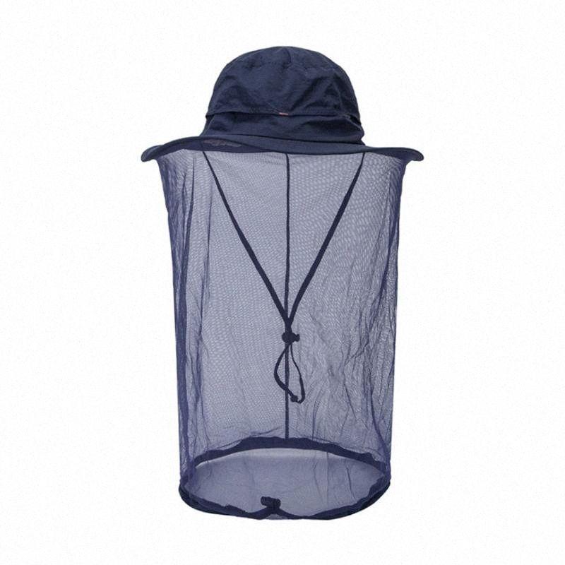 Nuevos hombres calientes Pesca Cap de ala ancha visera Parasol Caza Apicultura gorro Insectos Mosquito cara Prevención del cuello cubierta de la cabeza jWlf #