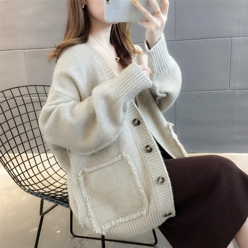 bEzLU Lazy style solid Coat sweater color tassel sweater coat for Women 2020 fall/winter New Korean style loose single-breasted knitted card