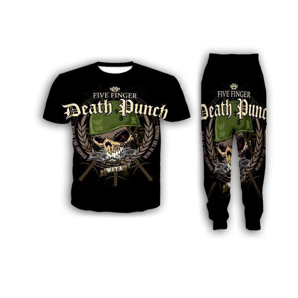 New Fashion Women / Mens Five Finger Death Punch engraçado 3d Imprimir T-shirt + Jogger Calças Casusal Treino Define S08