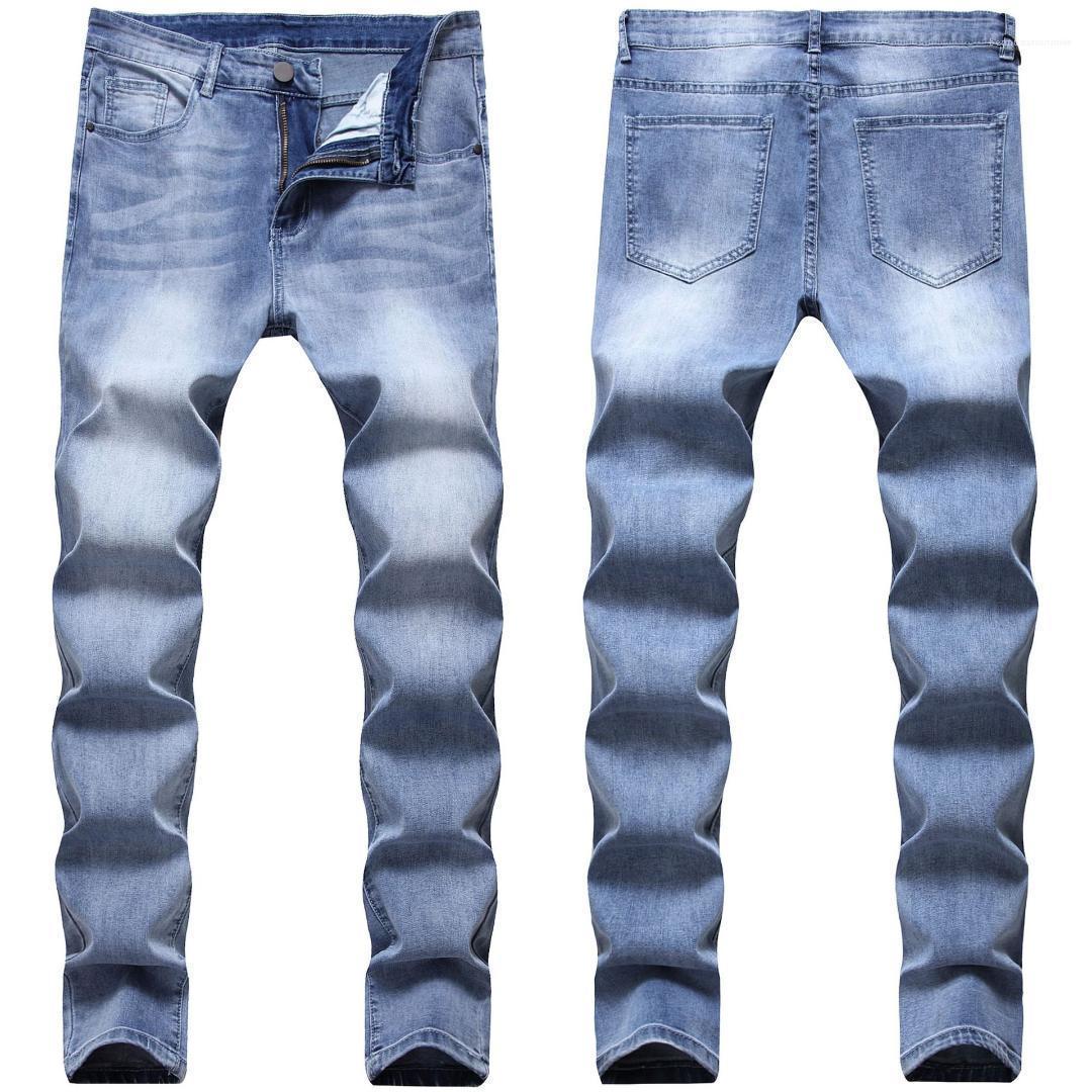 Cintura azul marino Jeans mediados de 2020 Nuevo diseñador del Mens pantalones del lápiz estiramiento de la manera hombres delgados Pantalones Demin