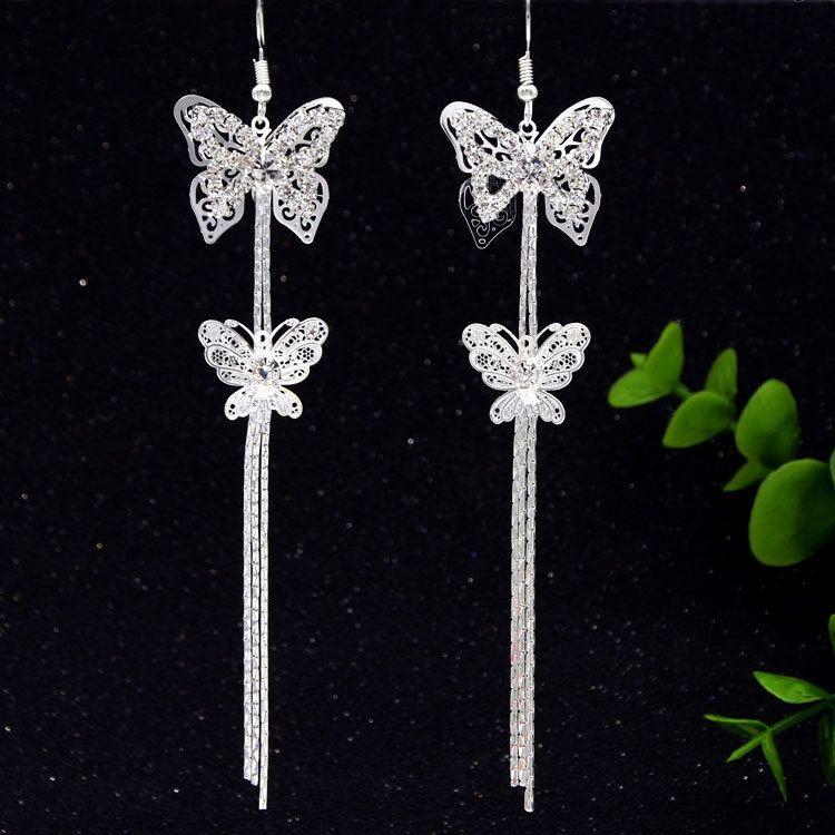lange populäre Quaste Doppel Schmetterling Art und Weise vorzüglicher übertrieben bm1me Strass Koreanisch Schmetterling Ohrringe Ohrringe Zubehör FEMA ArYPJ