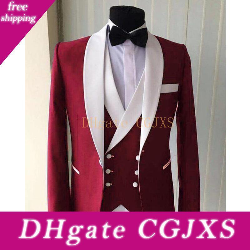 Высокое качество One Button Red Groom Tuxedos шаль лацкане Мужские костюмы Свадебные / выпускной вечер / ужин Шафер Blazer (куртка брюки жилет Tie) W387