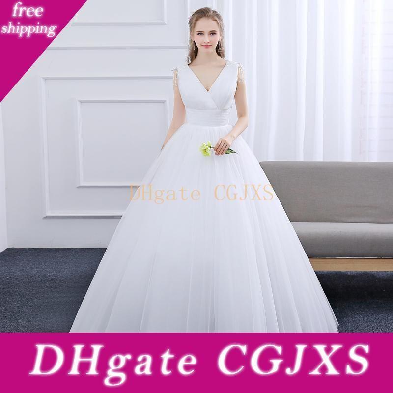 Vestidos de Noiva 2018 cuello en V vestido de bola de Tulle del vestido de boda simple vestidos de novia de encaje hasta