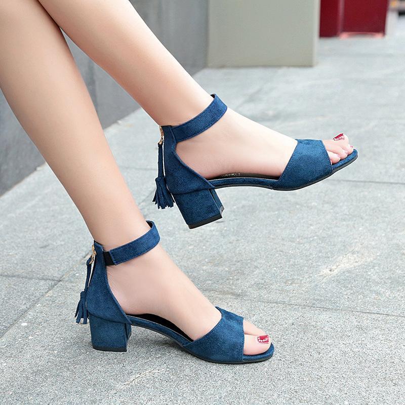 Asia 2020 Verão Mulheres zipper Sandals Sexy Peep Toe grossas meados Heels Shoes Mulher Gladiator Sandals Mulheres calça o tamanho 34-40