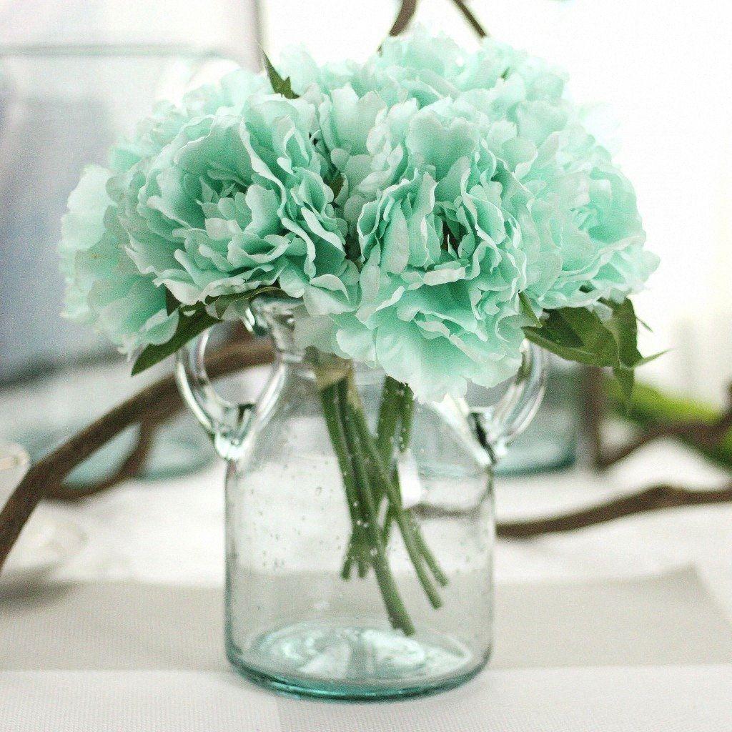 1 Букет 5 глав Синий пион цветок искусственного шелка Поддельный Свадебный букет невесты Свадьба Главная Новогоднее украшение ОГК3 #