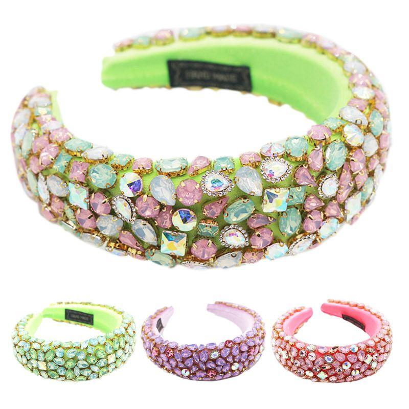 Baroque Dance Party Jewelry Bandana Shiny Geometric Rhinestone Crystal Headband Sponge Padded Neon Candy Color Hair Hoop